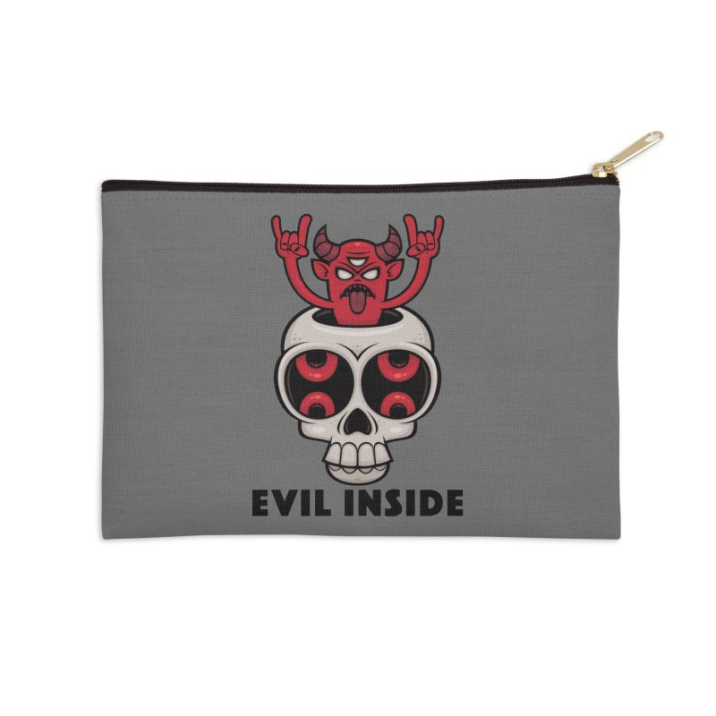 Possessed Skull Evil Inside Accessories Zip Pouch by Fizzgig's Artist Shop