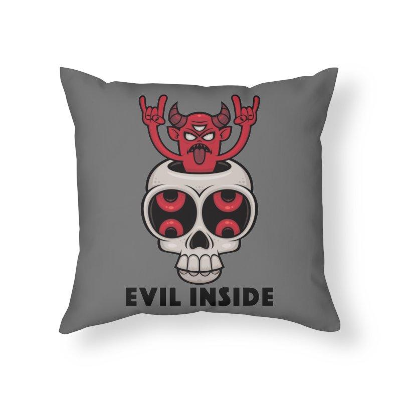 Possessed Skull Evil Inside Home Throw Pillow by Fizzgig's Artist Shop