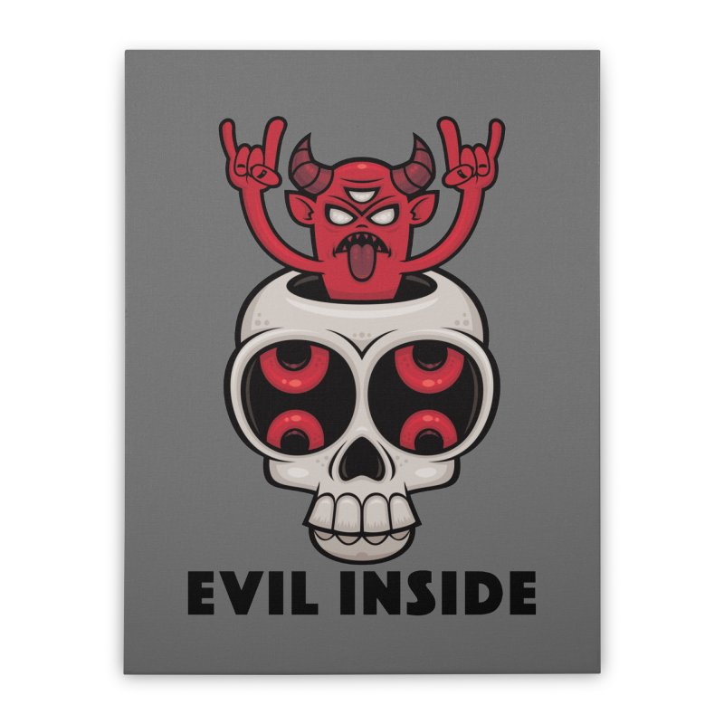 Possessed Skull Evil Inside Home Stretched Canvas by Fizzgig's Artist Shop
