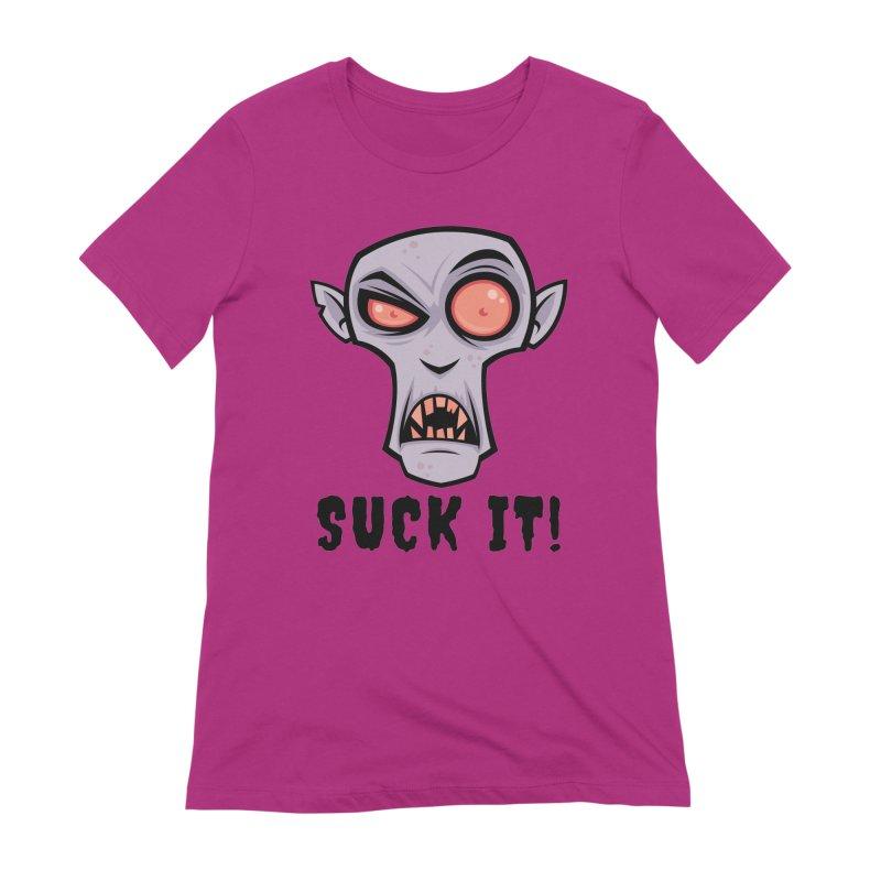 Creepy Vampire Cartoon with Suck It Text Women's Extra Soft T-Shirt by Fizzgig's Artist Shop