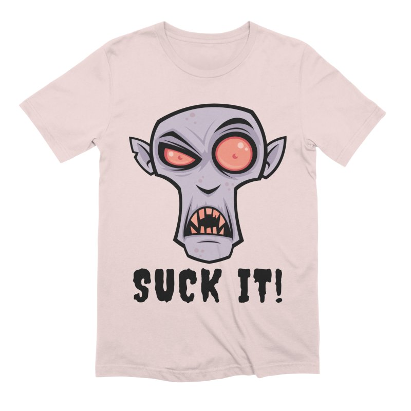 Creepy Vampire Cartoon with Suck It Text Men's Extra Soft T-Shirt by Fizzgig's Artist Shop