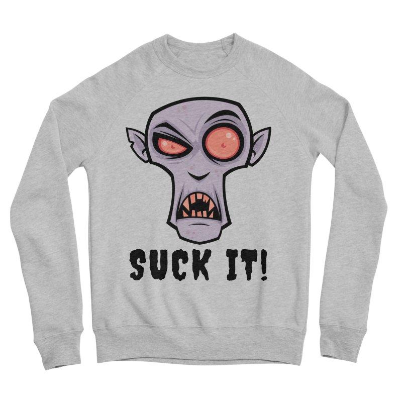 Creepy Vampire Cartoon with Suck It Text Men's Sponge Fleece Sweatshirt by Fizzgig's Artist Shop