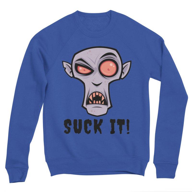Creepy Vampire Cartoon with Suck It Text Women's Sponge Fleece Sweatshirt by Fizzgig's Artist Shop