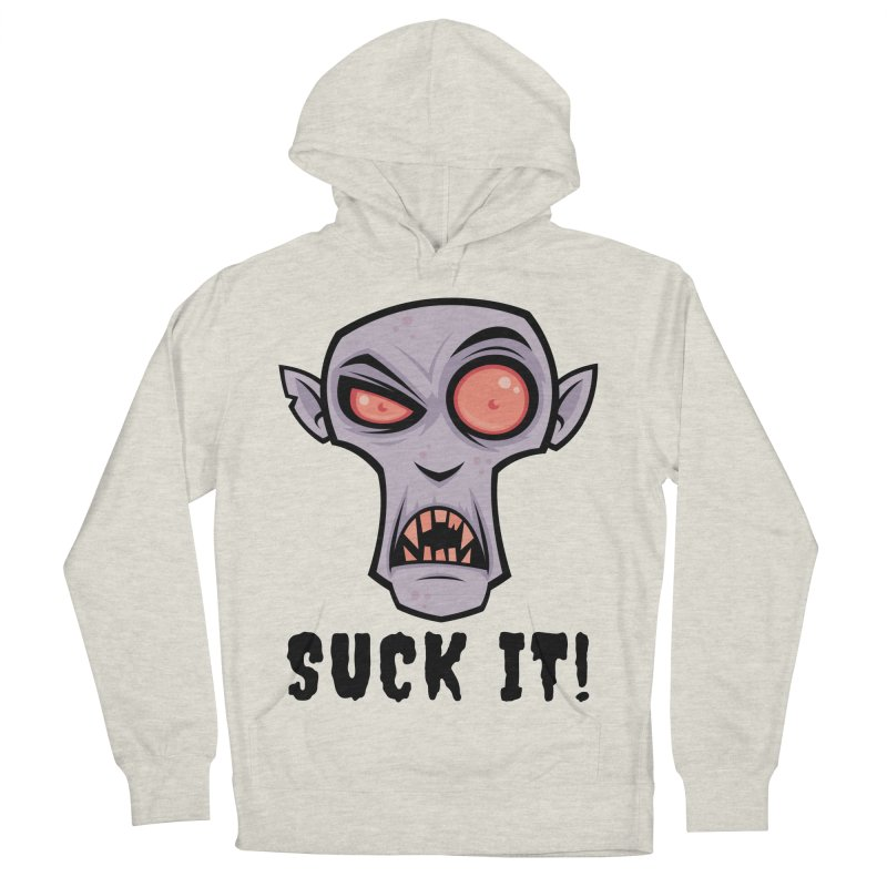 Creepy Vampire Cartoon with Suck It Text Women's French Terry Pullover Hoody by Fizzgig's Artist Shop