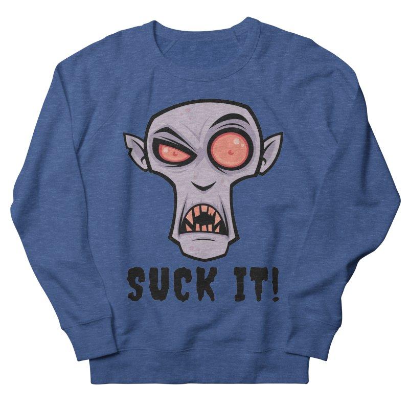 Creepy Vampire Cartoon with Suck It Text Men's French Terry Sweatshirt by Fizzgig's Artist Shop