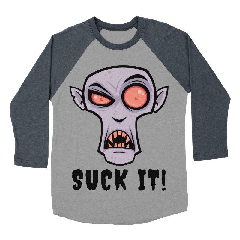 Creepy Vampire Cartoon with Suck It Text Men's Baseball Triblend Longsleeve T-Shirt by Fizzgig's Artist Shop