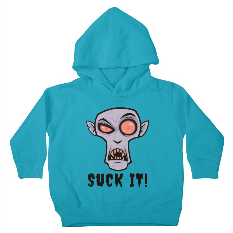 Creepy Vampire Cartoon with Suck It Text Kids Toddler Pullover Hoody by Fizzgig's Artist Shop