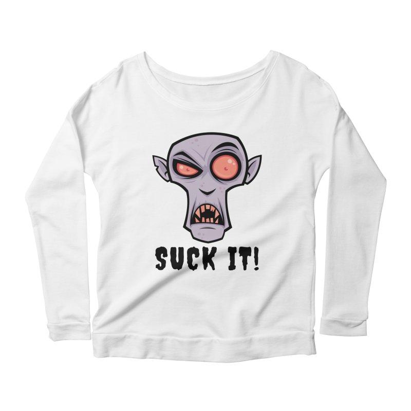 Creepy Vampire Cartoon with Suck It Text Women's Scoop Neck Longsleeve T-Shirt by Fizzgig's Artist Shop