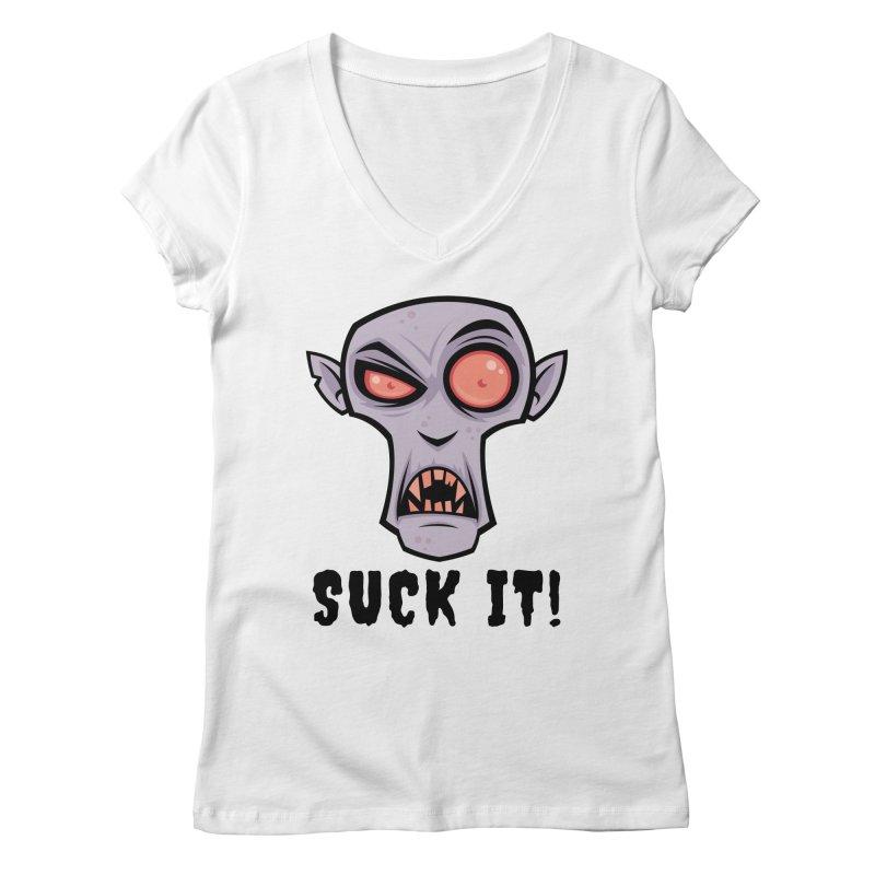 Creepy Vampire Cartoon with Suck It Text Women's Regular V-Neck by Fizzgig's Artist Shop