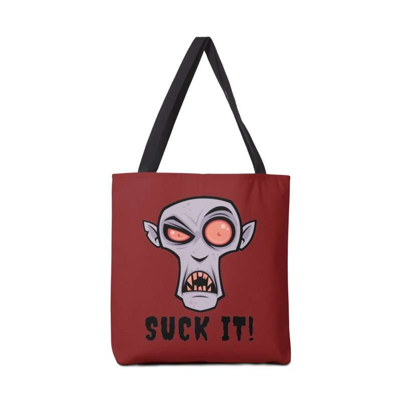 Creepy Vampire Cartoon with Suck It Text Accessories Bag by Fizzgig's Artist Shop