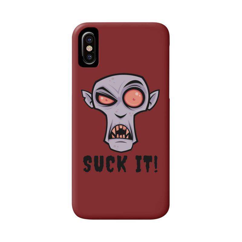 Creepy Vampire Cartoon with Suck It Text Accessories Phone Case by Fizzgig's Artist Shop