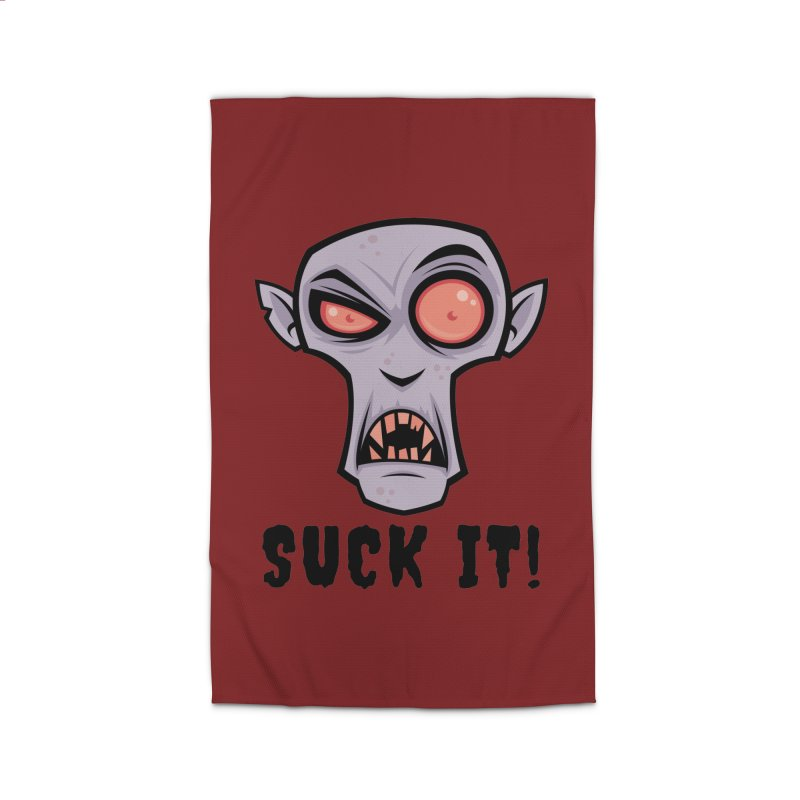Creepy Vampire Cartoon with Suck It Text Home Rug by Fizzgig's Artist Shop