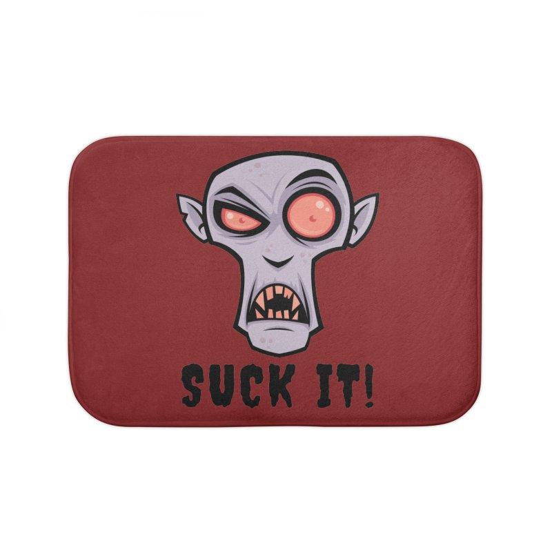 Creepy Vampire Cartoon with Suck It Text Home Bath Mat by Fizzgig's Artist Shop