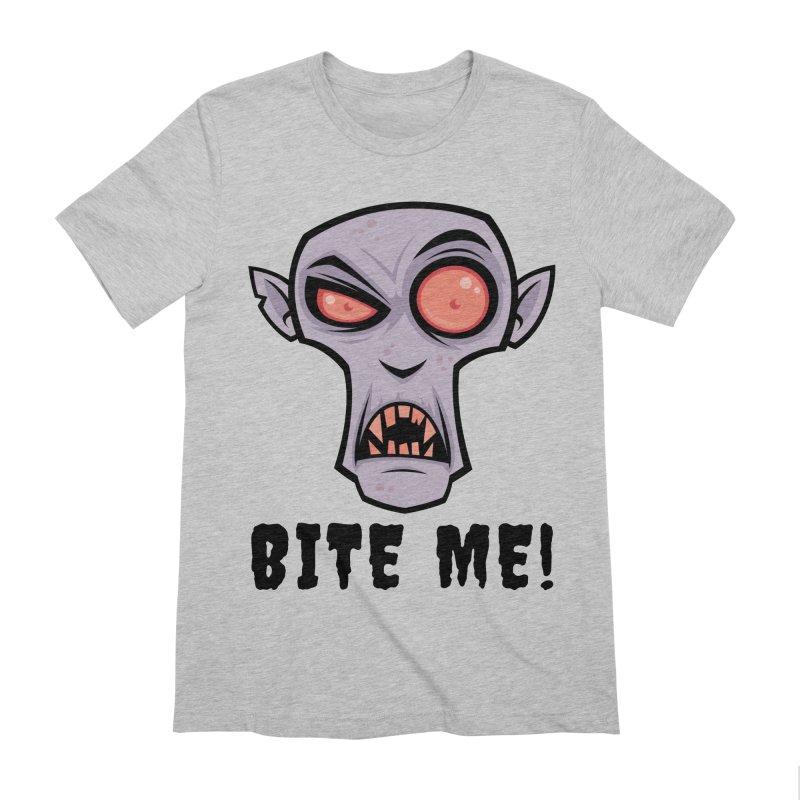 Creepy Vampire Cartoon with Bite Me Text Men's Extra Soft T-Shirt by Fizzgig's Artist Shop