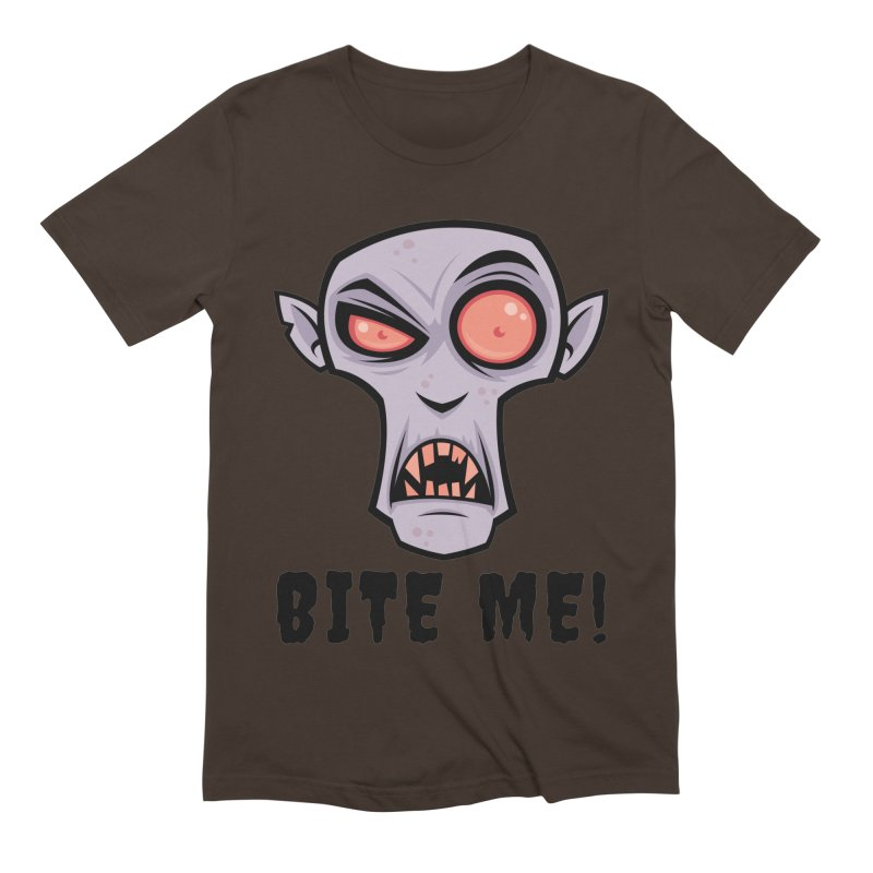 Creepy Vampire Cartoon with Bite Me Text Men's Extra Soft T-Shirt by Fizzgig's Artist Shop