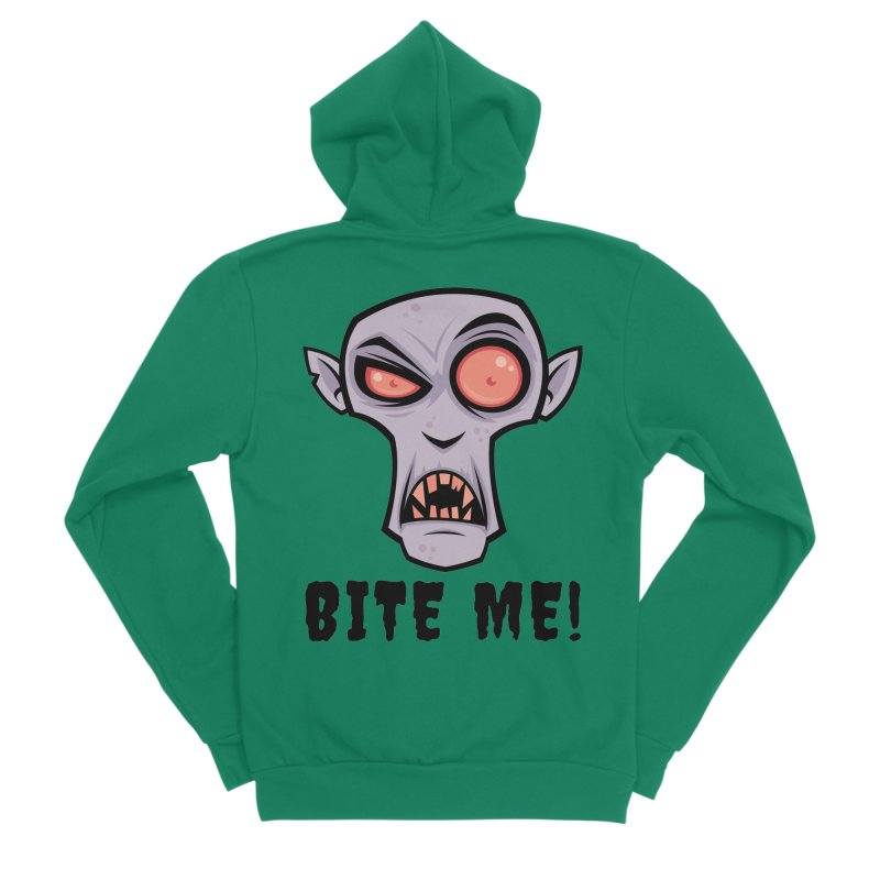 Creepy Vampire Cartoon with Bite Me Text Women's Sponge Fleece Zip-Up Hoody by Fizzgig's Artist Shop