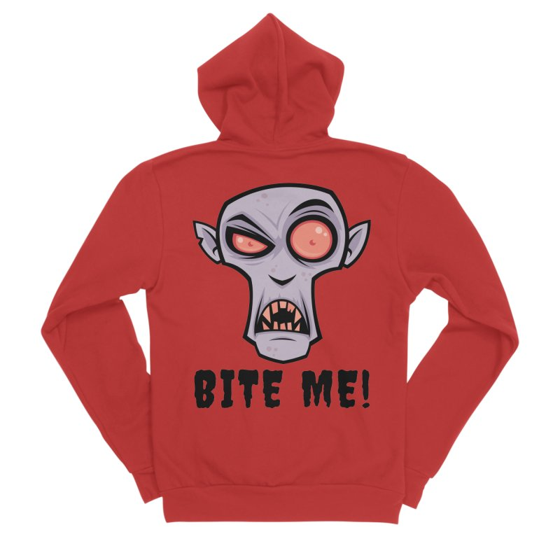 Creepy Vampire Cartoon with Bite Me Text Men's Sponge Fleece Zip-Up Hoody by Fizzgig's Artist Shop