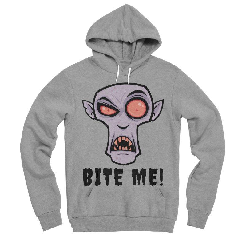 Creepy Vampire Cartoon with Bite Me Text Men's Sponge Fleece Pullover Hoody by Fizzgig's Artist Shop