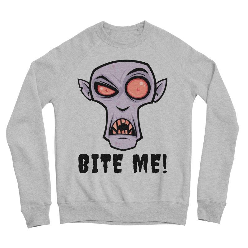 Creepy Vampire Cartoon with Bite Me Text Men's Sponge Fleece Sweatshirt by Fizzgig's Artist Shop