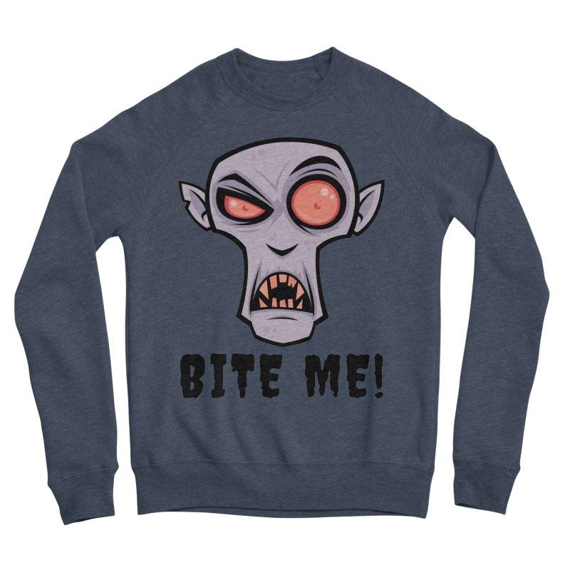 Creepy Vampire Cartoon with Bite Me Text Women's Sponge Fleece Sweatshirt by Fizzgig's Artist Shop