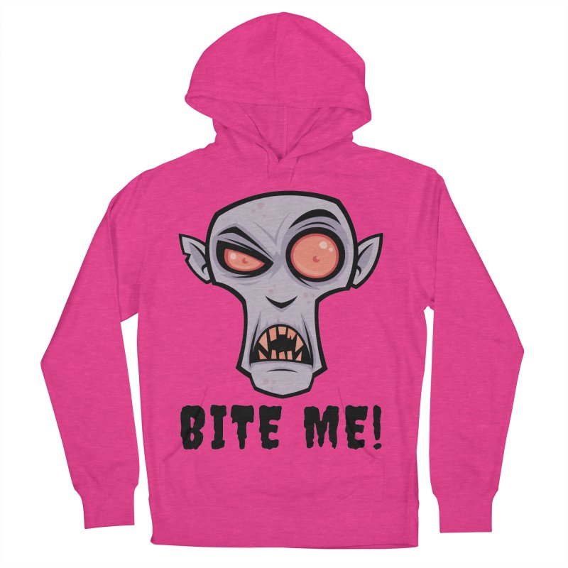 Creepy Vampire Cartoon with Bite Me Text Women's French Terry Pullover Hoody by Fizzgig's Artist Shop
