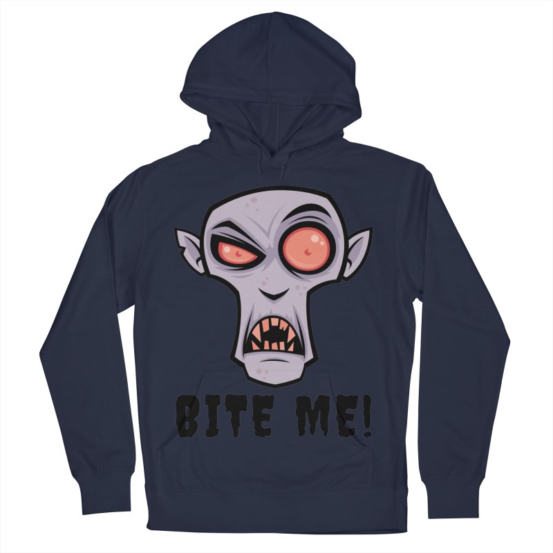 Creepy Vampire Cartoon with Bite Me Text Men's French Terry Pullover Hoody by Fizzgig's Artist Shop