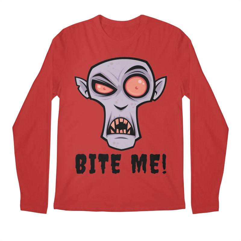 Creepy Vampire Cartoon with Bite Me Text Men's Regular Longsleeve T-Shirt by Fizzgig's Artist Shop