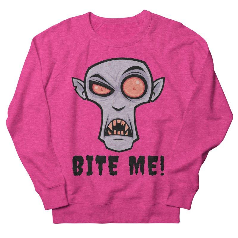 Creepy Vampire Cartoon with Bite Me Text Men's French Terry Sweatshirt by Fizzgig's Artist Shop