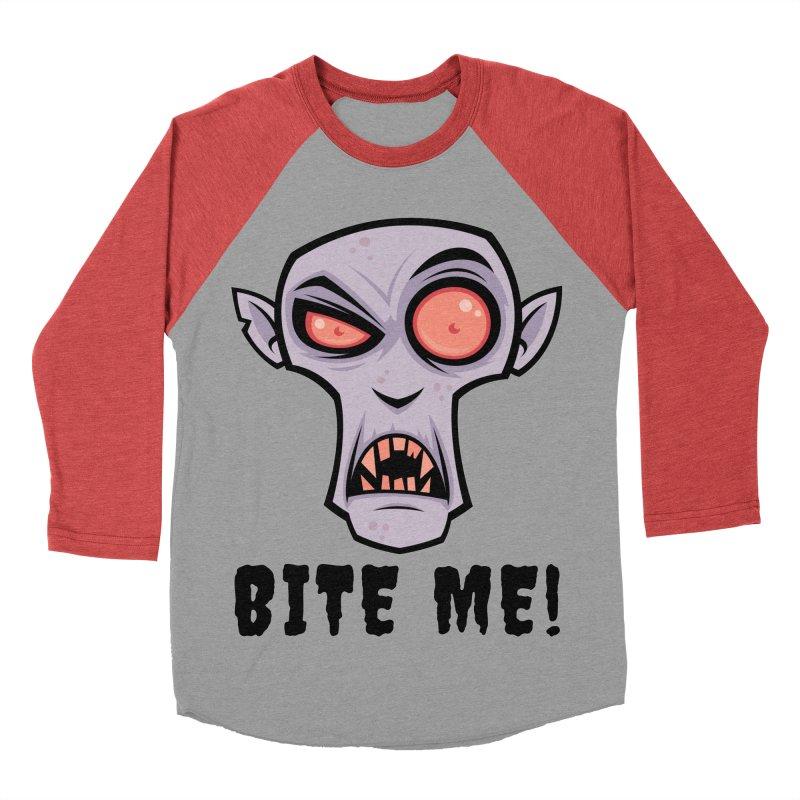Creepy Vampire Cartoon with Bite Me Text Women's Baseball Triblend Longsleeve T-Shirt by Fizzgig's Artist Shop