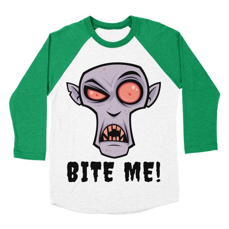 Creepy Vampire Cartoon with Bite Me Text Men's Baseball Triblend Longsleeve T-Shirt by Fizzgig's Artist Shop