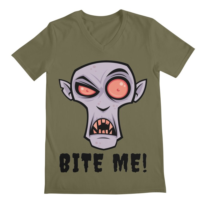 Creepy Vampire Cartoon with Bite Me Text Men's Regular V-Neck by Fizzgig's Artist Shop