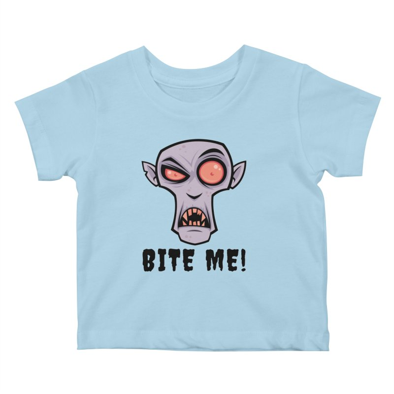 Creepy Vampire Cartoon with Bite Me Text Kids Baby T-Shirt by Fizzgig's Artist Shop