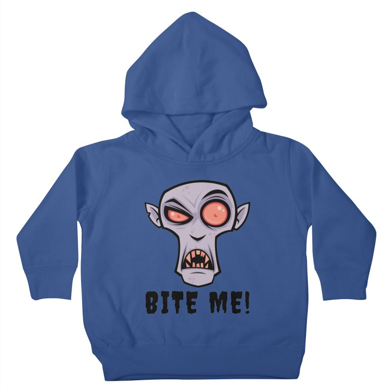 Creepy Vampire Cartoon with Bite Me Text Kids Toddler Pullover Hoody by Fizzgig's Artist Shop