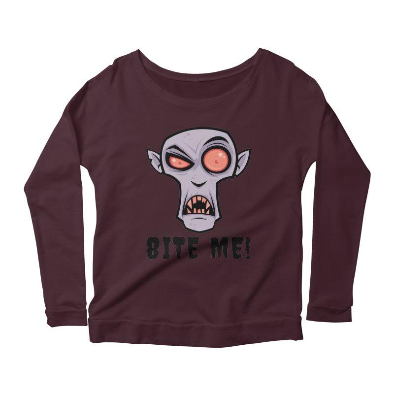 Creepy Vampire Cartoon with Bite Me Text Women's Scoop Neck Longsleeve T-Shirt by Fizzgig's Artist Shop