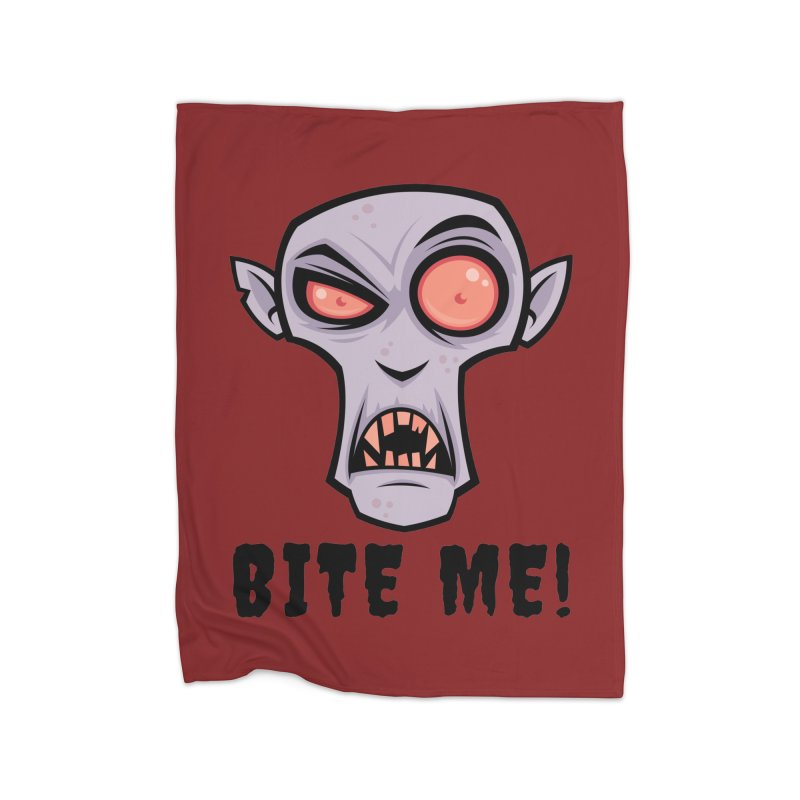 Creepy Vampire Cartoon with Bite Me Text Home Blanket by Fizzgig's Artist Shop