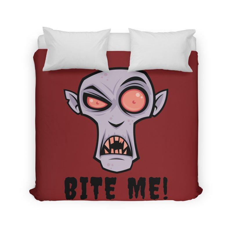 Creepy Vampire Cartoon with Bite Me Text Home Duvet by Fizzgig's Artist Shop