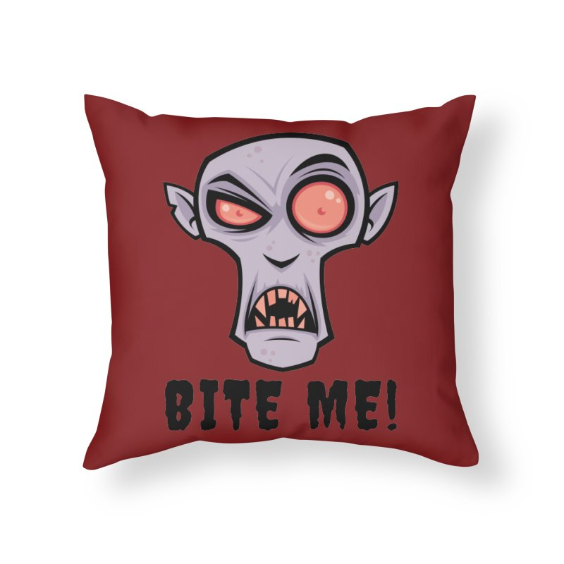 Creepy Vampire Cartoon with Bite Me Text Home Throw Pillow by Fizzgig's Artist Shop