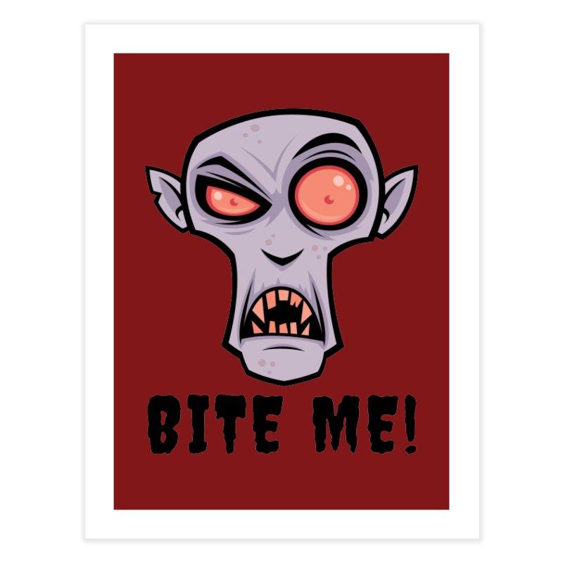 Creepy Vampire Cartoon with Bite Me Text Home Fine Art Print by Fizzgig's Artist Shop