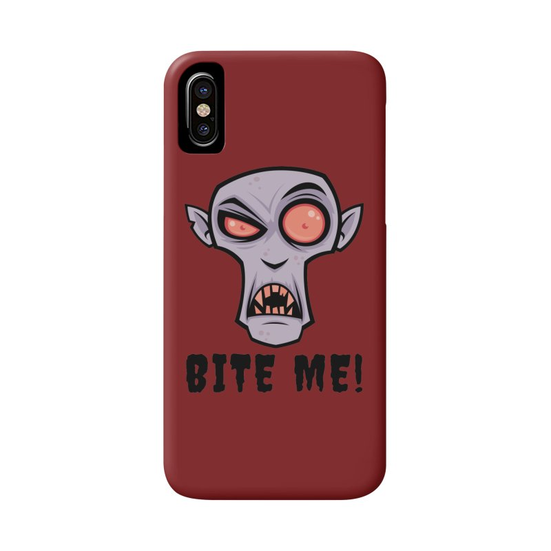 Creepy Vampire Cartoon with Bite Me Text Accessories Phone Case by Fizzgig's Artist Shop