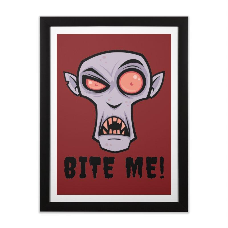 Creepy Vampire Cartoon with Bite Me Text Home Framed Fine Art Print by Fizzgig's Artist Shop