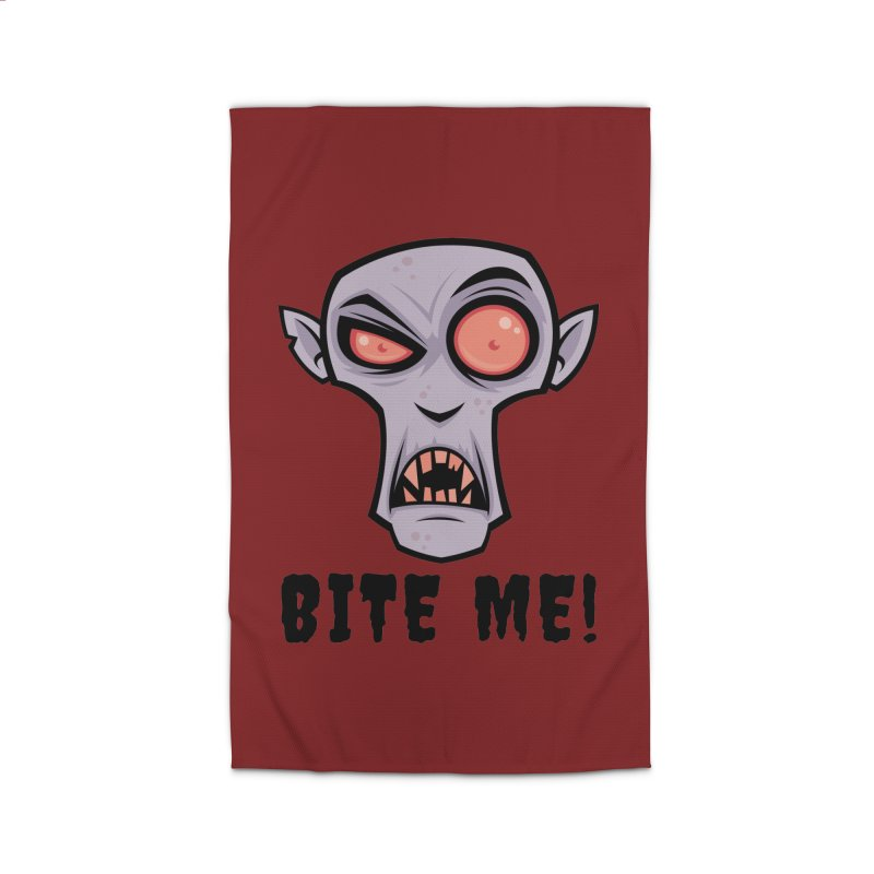 Creepy Vampire Cartoon with Bite Me Text Home Rug by Fizzgig's Artist Shop