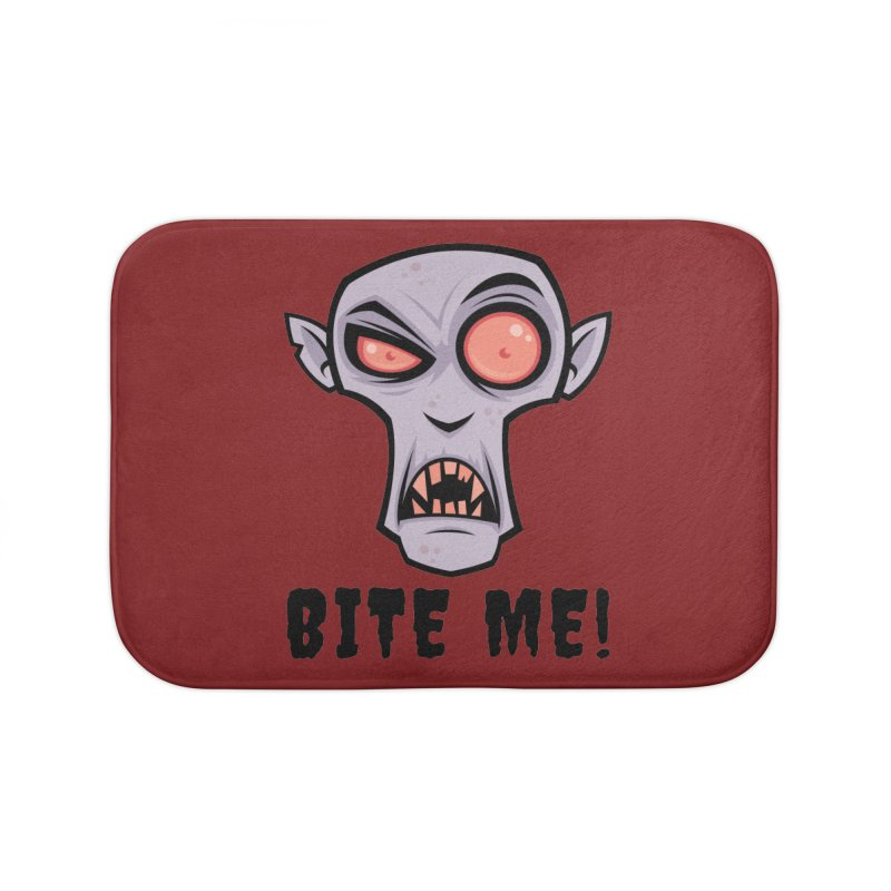 Creepy Vampire Cartoon with Bite Me Text Home Bath Mat by Fizzgig's Artist Shop