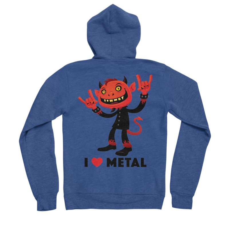 I Love Metal Devil Men's Sponge Fleece Zip-Up Hoody by Fizzgig's Artist Shop