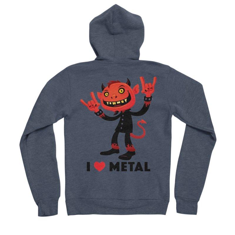 I Love Metal Devil Women's Sponge Fleece Zip-Up Hoody by Fizzgig's Artist Shop