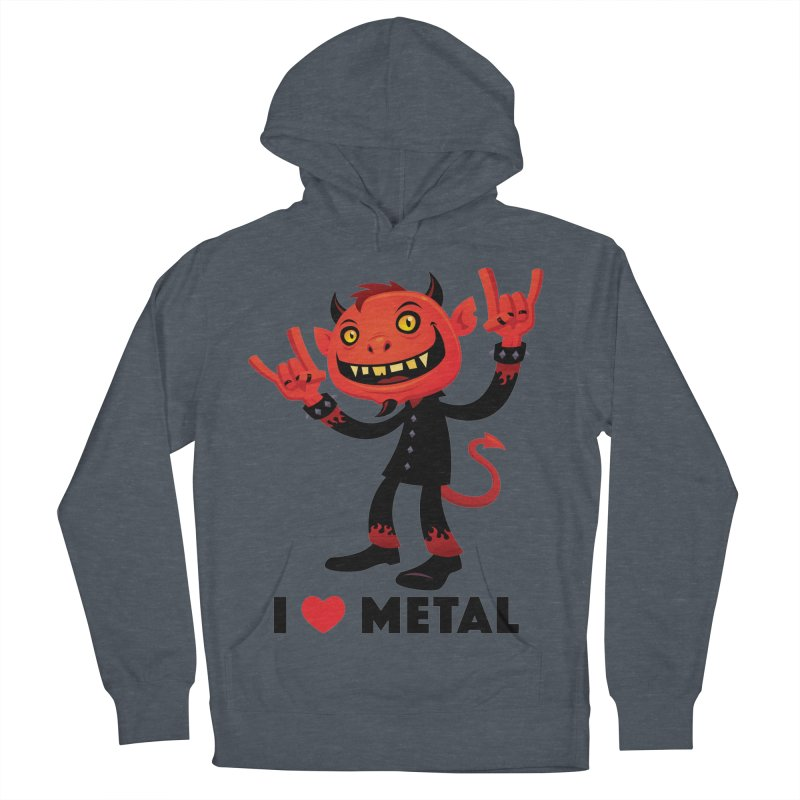 I Love Metal Devil Men's French Terry Pullover Hoody by Fizzgig's Artist Shop