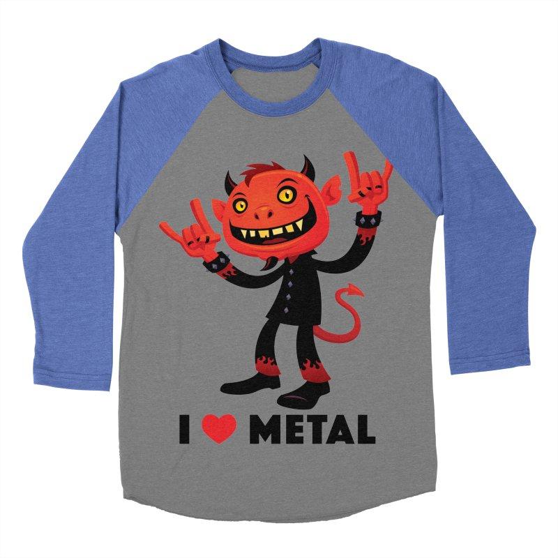 I Love Metal Devil Men's Baseball Triblend Longsleeve T-Shirt by Fizzgig's Artist Shop