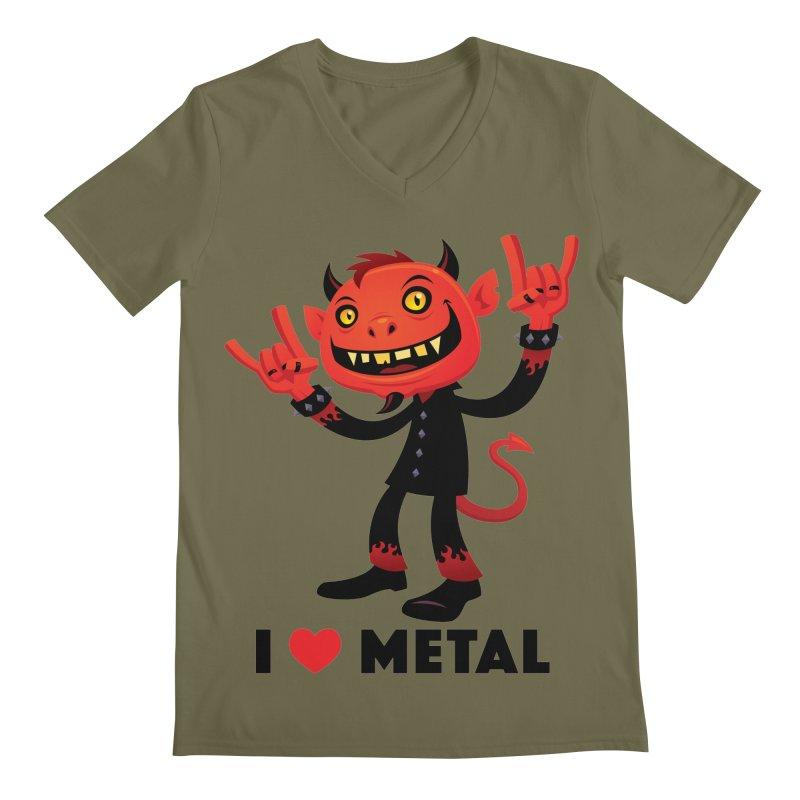 I Love Metal Devil Men's Regular V-Neck by Fizzgig's Artist Shop