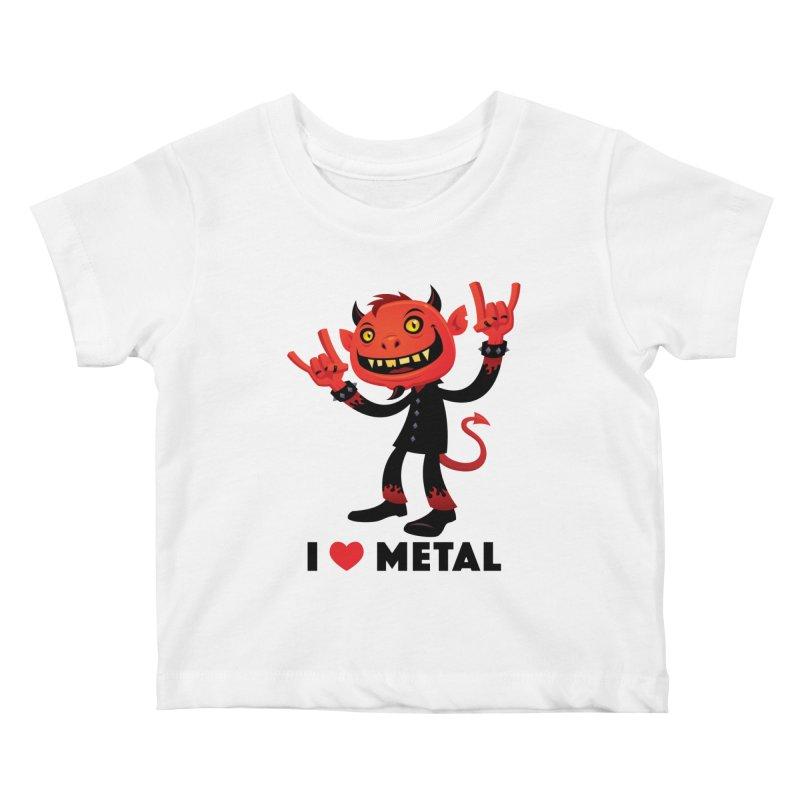 I Love Metal Devil Kids Baby T-Shirt by Fizzgig's Artist Shop