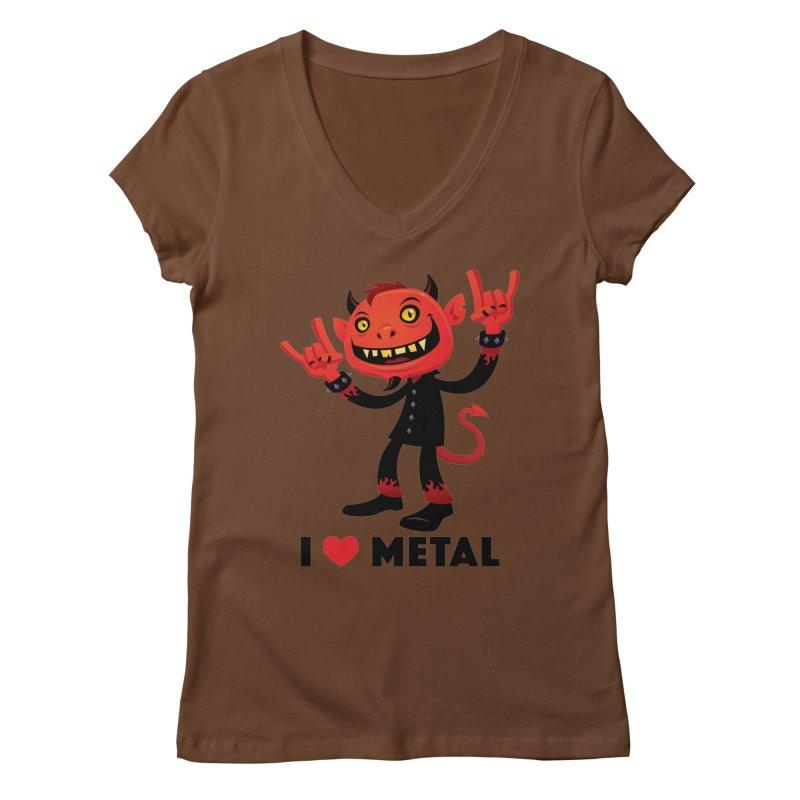 I Love Metal Devil Women's Regular V-Neck by Fizzgig's Artist Shop