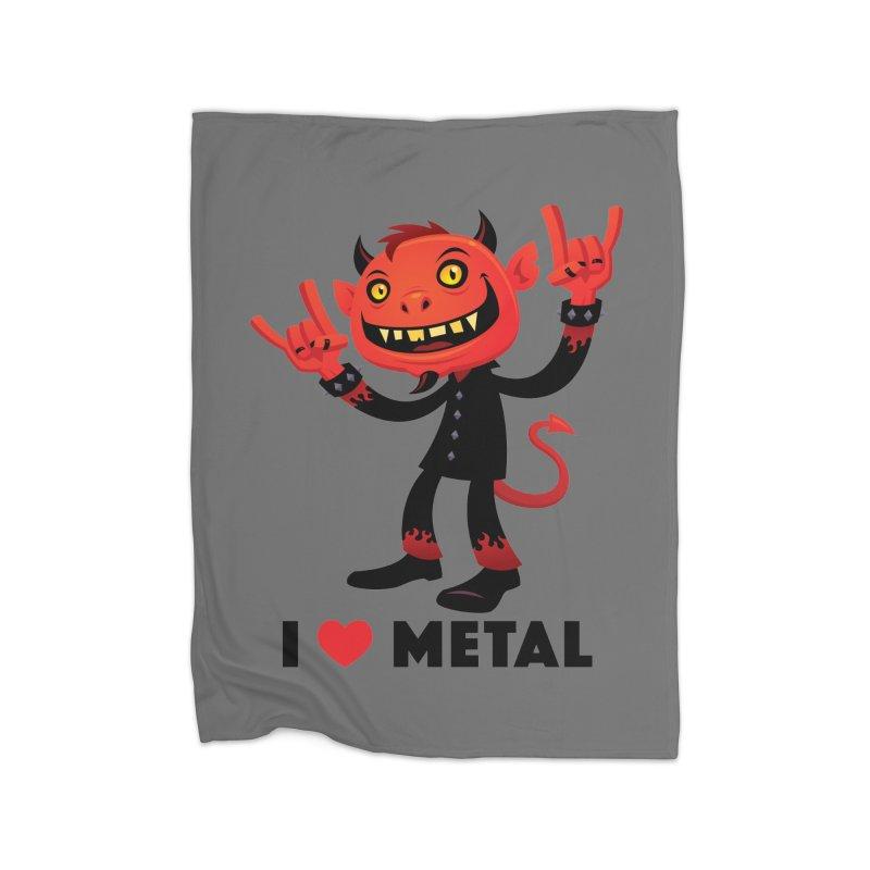 I Love Metal Devil Home Blanket by Fizzgig's Artist Shop